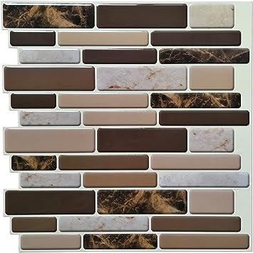 Art3d Kitchen Backsplash Tiles Peel and Stick Wall Stickers, 12\