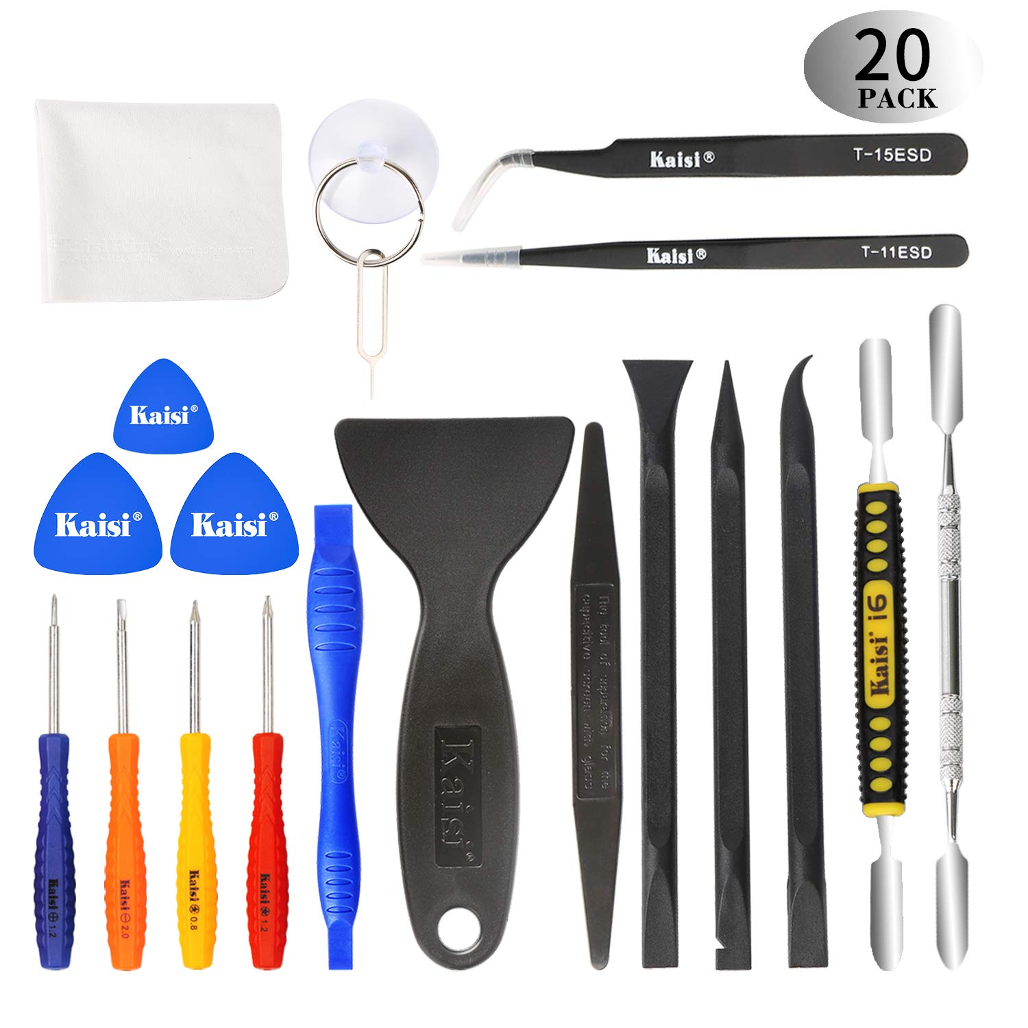 Kaisi Ultrathin Steel Professional Opening Pry Tool Repair Kit with Non-Abrasive Nylon Spudgers and Anti-Static Tweezers, 20 Piece Repair Tool Set