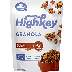 HighKey Snacks Keto Granola - Low Carb Cereal Snack - No Sugar Added Breakfast Muesli - Grain & Gluten Free Food - Almond & Nut Healthy Paleo & Diabetic Friendly Foods - Cinnamon Almond