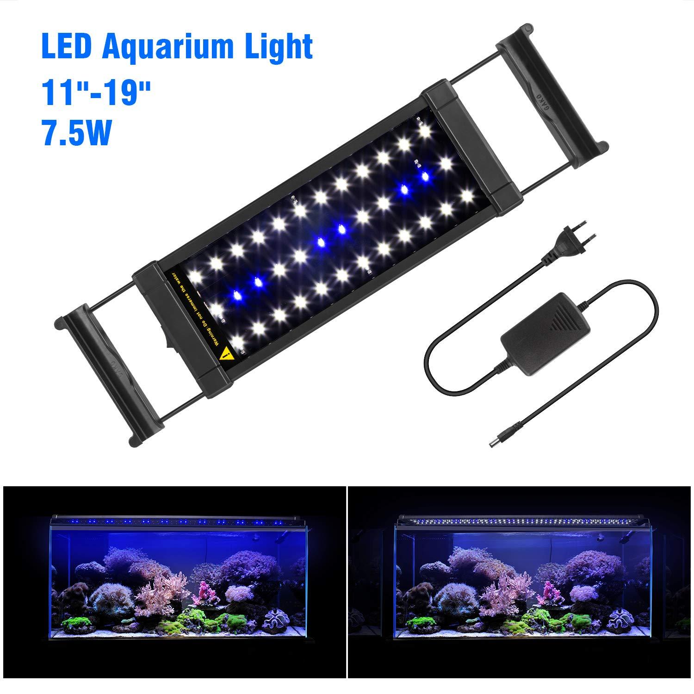 ... FTALGS Aquarium LED Aquarium Beleuchtung, Aquariumbeleuchtung Lampe  Weiß Blau Licht Mit Verstellbarer Für Aquarium Aquariumbeleuchtung