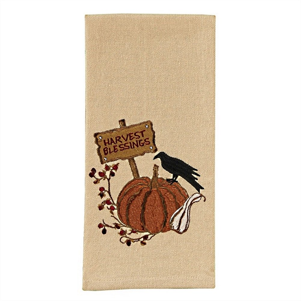 Park Designs Pumpkin Embroidered Dishtowel (Harvest Blessings)