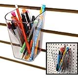 Pen Cup for Pegboard & Slatwall - Acrylic Bucket Bin - 1 Unit