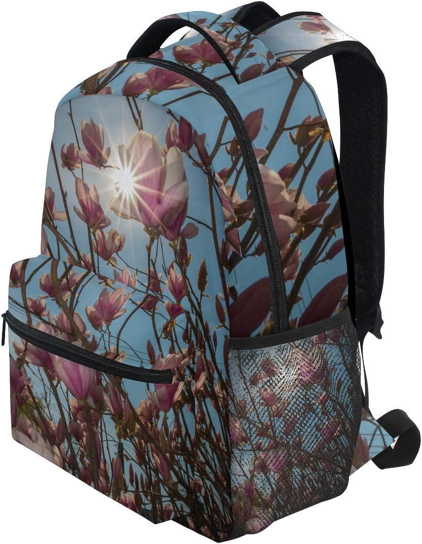 Backpack Fashion Laptop Daypack Spring Pink Magnolia Flower Travel Backpack for Women Men Girl Boy Schoolbag College School Bag Canvas