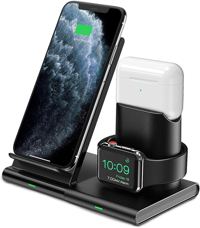 Seneo Cargador Inalámbrico Rápido - 7.5 W Cargador Doméstico 3 en 1 para iPhone 8 a iPhone 11 Pro, Soporte de Carga Inalámbrico para Apple Watch y AirPods Pro