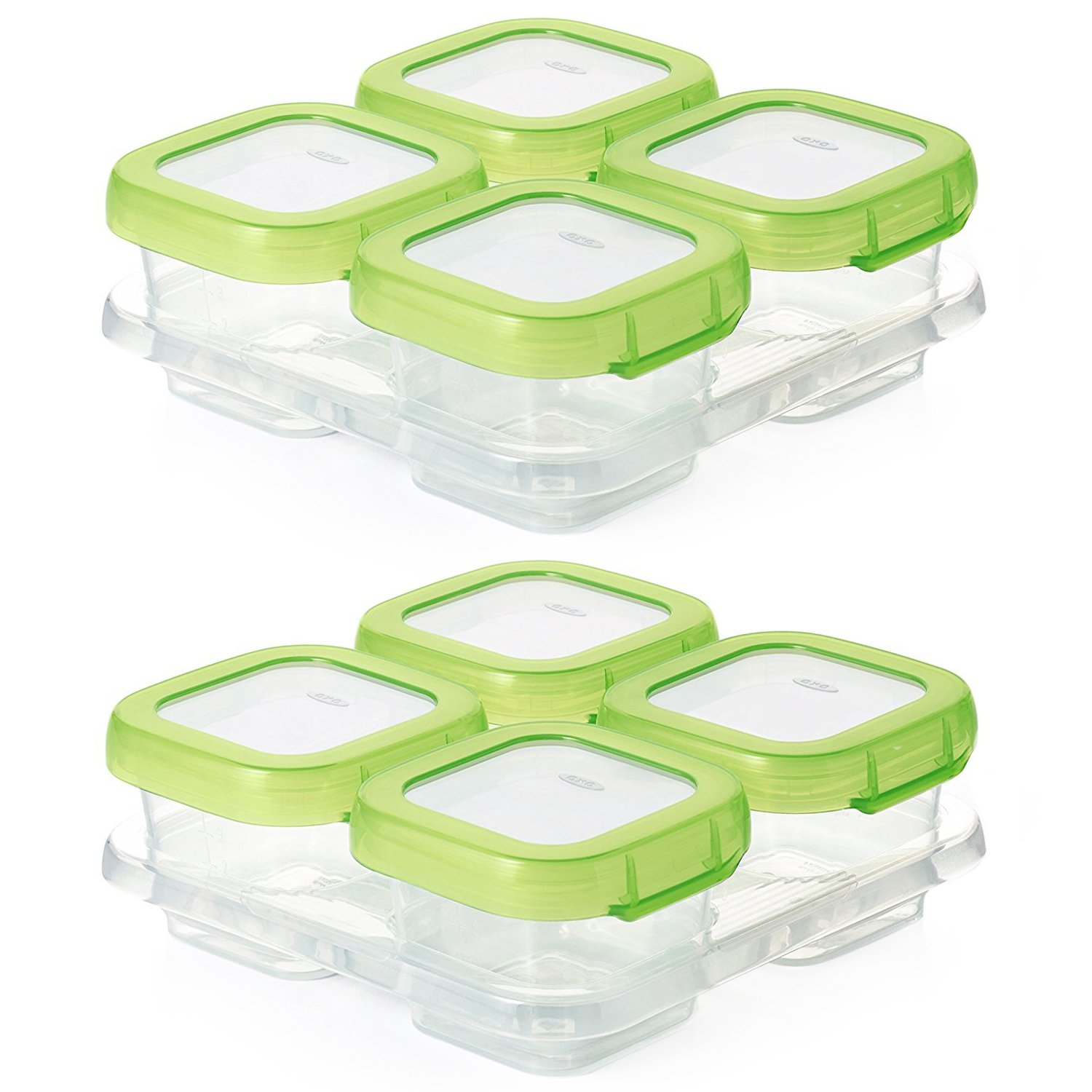 OXO Tot Baby Blocks Freezer Storage Containers 4-Ounce, Set of 8, Clear