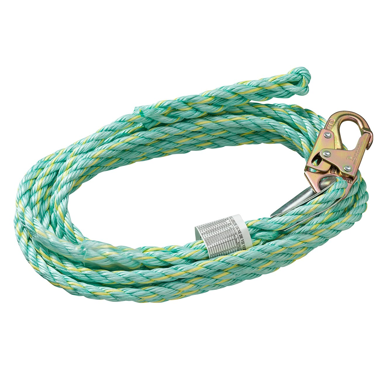 Peakworks Fall Protection V84014025 Vertical Lifeline Rope with Back Splice and Snap Hook , 25 ft. Length, Green