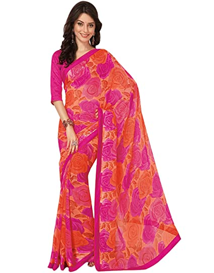 a1e89b67f9b5fd Cbazaar Beige Faux Georgette Saree with Blouse Piece: Amazon.in: Clothing &  Accessories