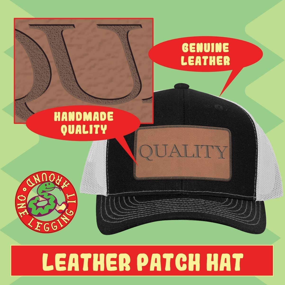 ein Legging es Around #Oriole - Leather Hashtag Dark Brown Patch Engraved Trucker Hat