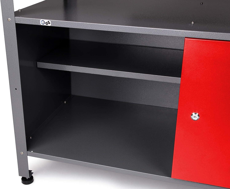 Arbeitsh/öhe 85 cm, rot Metall Haken Set Ondis24 Werkstatt Set Eckl/ösung Classic One Werkzeugschrank Werkzeugwand Lochwand Werkbank