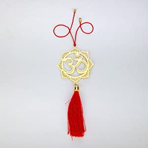ADORAA Hindu OM/AUM Symbol - Rear View Mirror Car Hanging Ornament/Perfect Car Charm Pendant/Amulet - Accessories for Car Décor in Brass for Divine Blessings & Safety/Protection