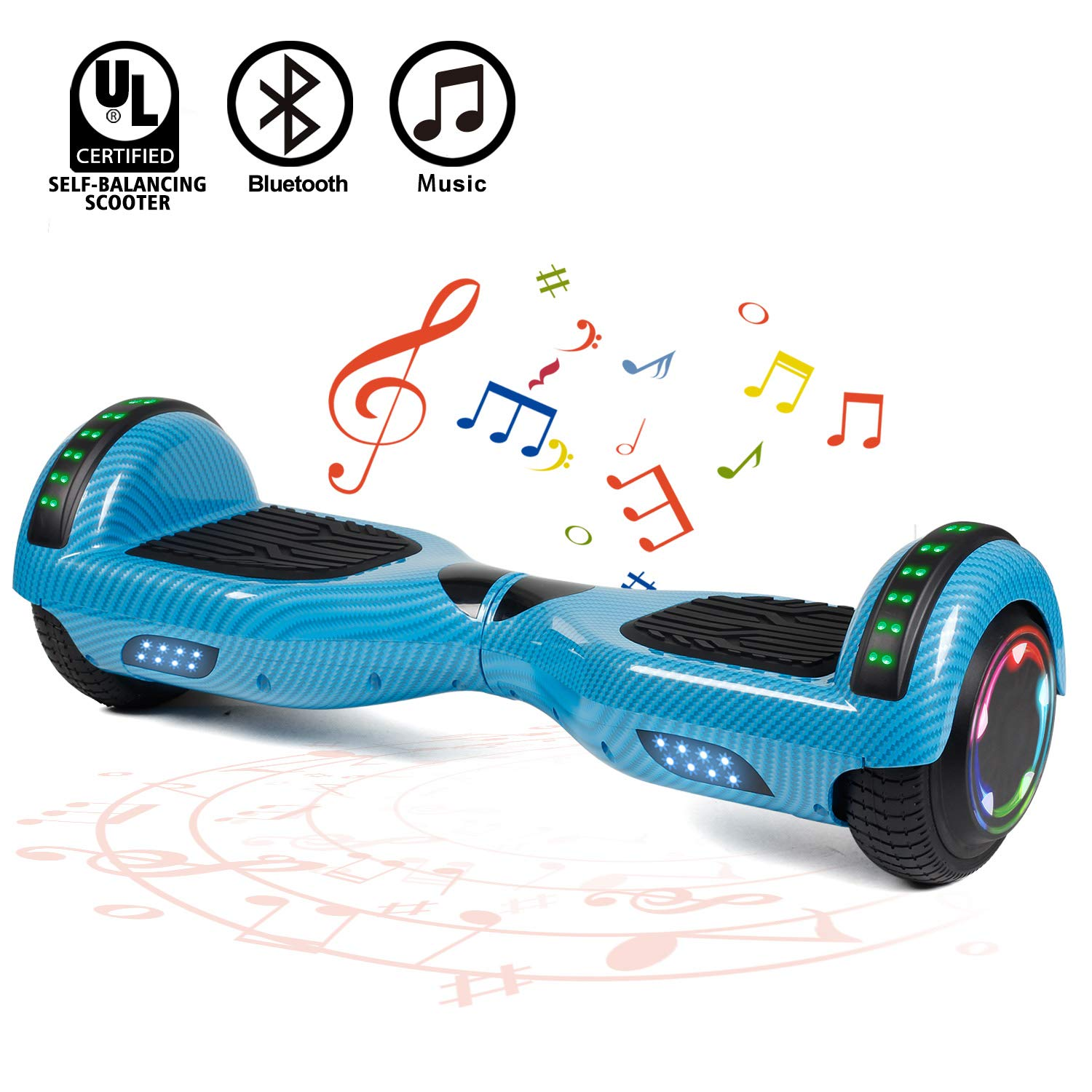 FLYING-ANT Hoverboard UL 2272 Certified 6.5'' Two-Wheel Bluetooth Self Balancing Electric Scooter with LED Light Flash Lights Wheels Blue (Free Carry Bag)