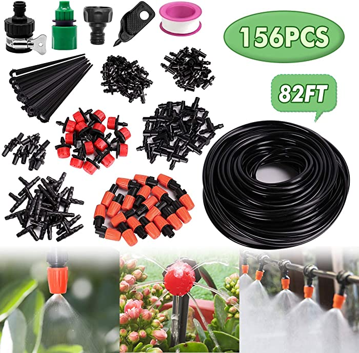 "Drip Irrigation System, Automatic Garden Watering System with Adjustable Dripper 82ft 1/4"" Blank Distribution Tubing Hose Drip Irrigation Kit 156 Pcs for Greenhouse, Garden, Flower Bed,Patio,Lawn"