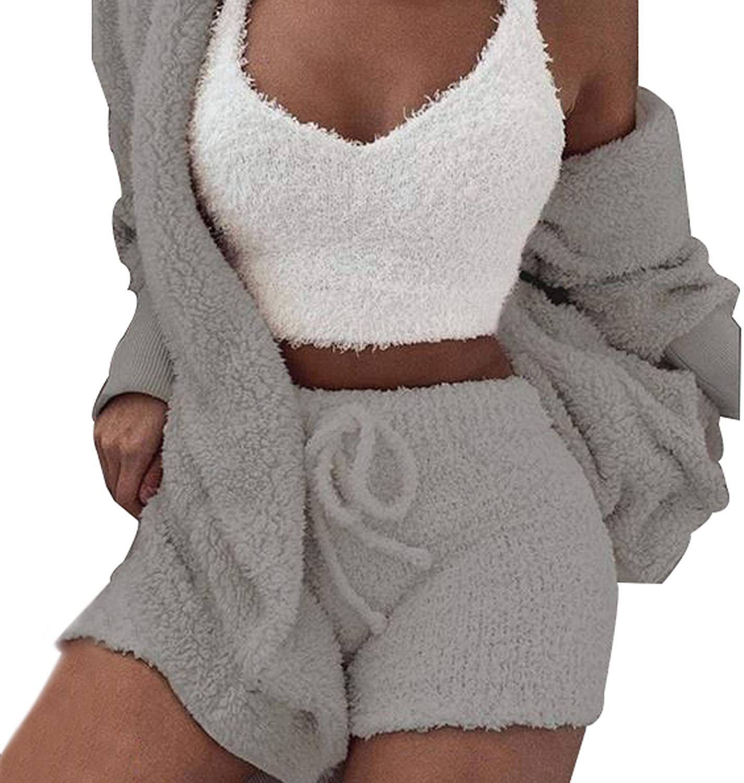 Womens Sexy Fuzzy Warm Sherpa Fleece 3 Piece Outfit Fleece Coat Jacket Outwear and Spaghetti Strap Crop Top Shorts Set
