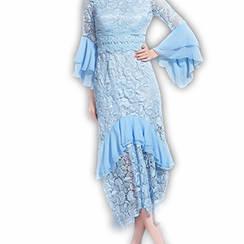 WalterTi Fashion Women's elegant Lace Ruffles Sheath Mermaid Bodycon Dress Sky Blue L by WalterTi adult-exotic-dresses