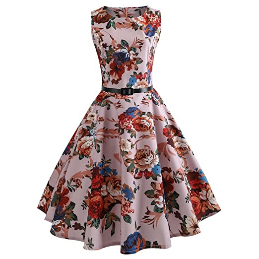 Women Dress Godathe Women Vintage Printing Bodycon Sleeveless Casual Evening Party Prom Swing Dress S-