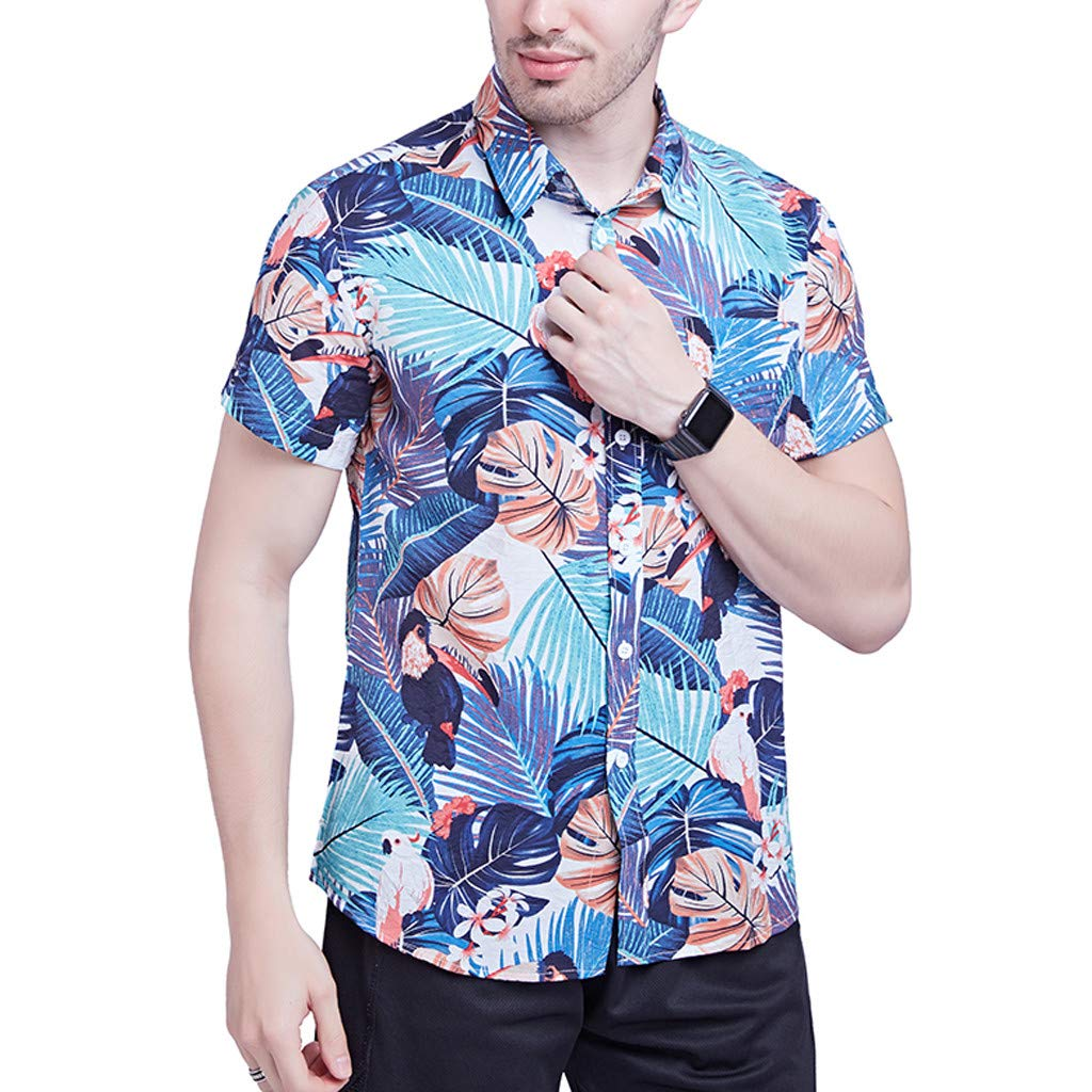 Mens Summer Shirt Mens Flower Casual Button Down Short Sleeve Hawaiian Shirt Beachwear