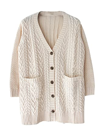 Womens Long Sleeve Open Front Button Up Chunky Cardigan Sweater ...
