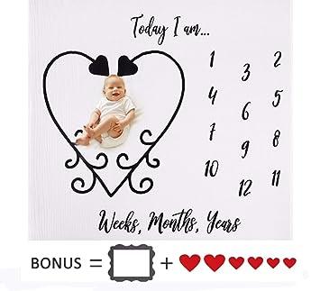 f3b493b12 Amazon.com  Organic Baby Monthly Milestone Blanket - 2 Bonus ...