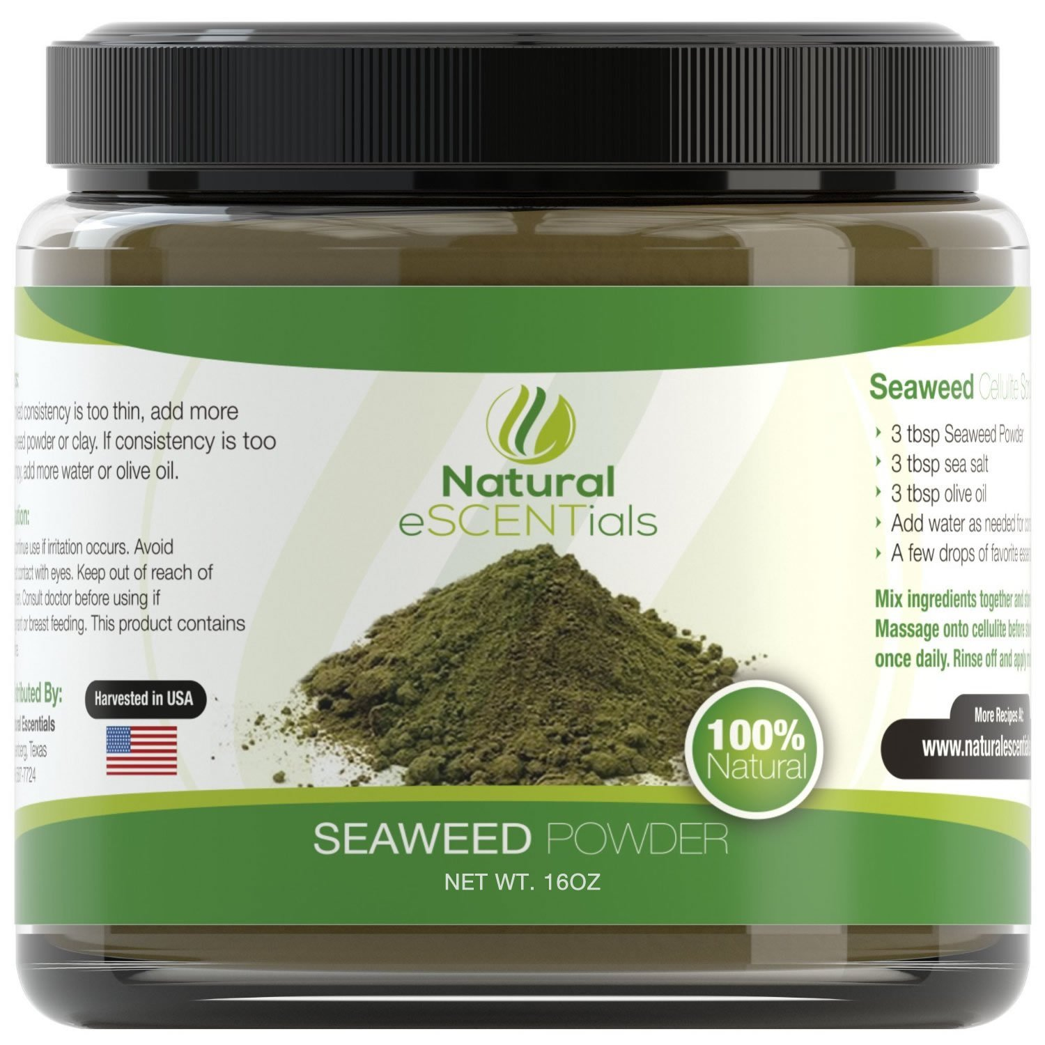 Seaweed Powder - 100% Organic Kelp Powder - Cellulite Treatment - Fresh Norwegian Ascophyllum Nodosum - FREE Recipes Included - Perfect For Body Wraps, Scrubs, Facials - 1lb