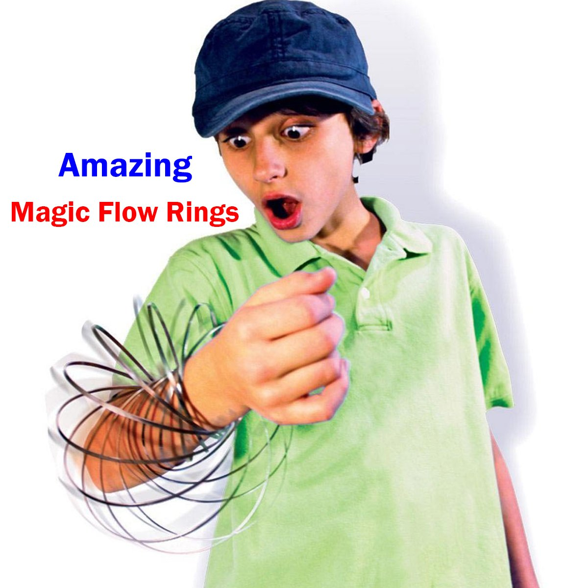 Silver Amazing Magic Flow Rings Kinetic Educational Spring Toy Funny Outdoor Game Intelligent Relax 3D Kinetic Ring Spring Bracelet Stainless Metal Galactic Globe Toy Fit for Kids Boys Girl Adults