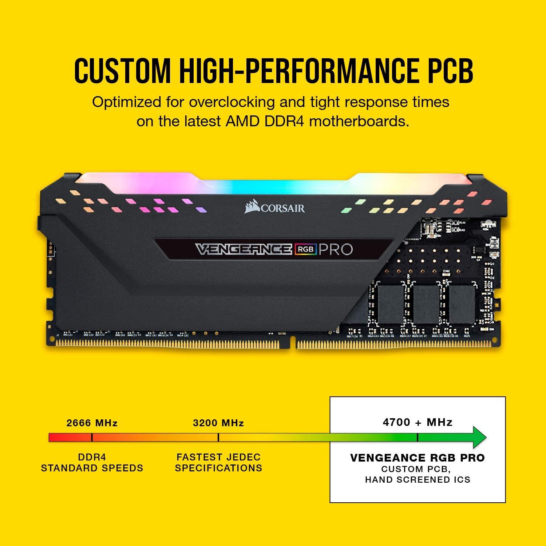 Corsair Vengeance RGB Pro 32GB DDR4 2933 2x16GB Black PC Memory CMW32GX4M2Z2933C16 PC4-23400 C16 Desktop Memory