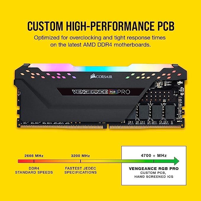 DDR4 4000 Corsair Vengeance RGB Pro 16GB C18 AMD Optimized Memory Black 2x8GB PC4-32000