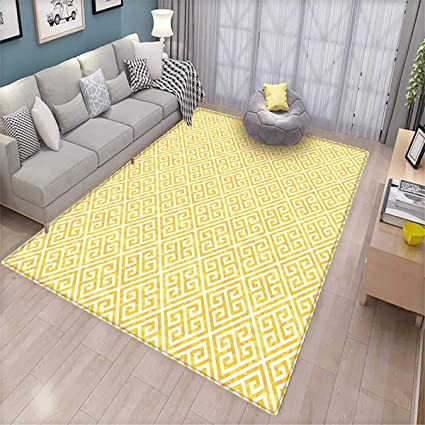 Greek Key Girls Bedroom Rug Yellow and White Tile Pattern with Twisted  Lines in Squares Grunge Looking Maze Bath Mats for Floors Yellow White