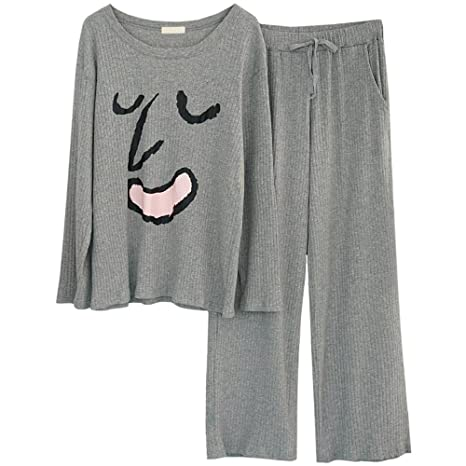 RZ.hs Pijamas de algodón de Punto de Mujer de Invierno Conjunto Manga Larga  2 167423467f86