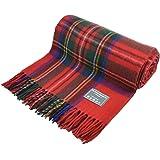 Classic Wool Knee Blanket Throw Rug in Royal Stewart Tartan