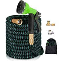 """AnyTop Flexible Expandable Garden Hose & 8 Function Spray Nozzle with 3/4"""" Universal Solid Brass Fittings & Double Latex…"""