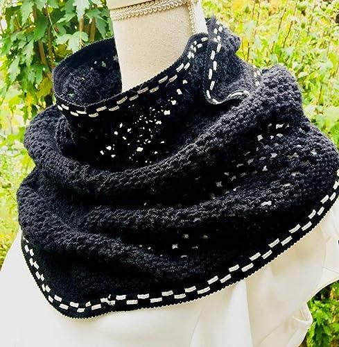 6e89a7deed9 Châle trendy Noir en Laine tricoté Main Chèche pour Femme Chauffe-épaules  tricot Echarpe Tricot