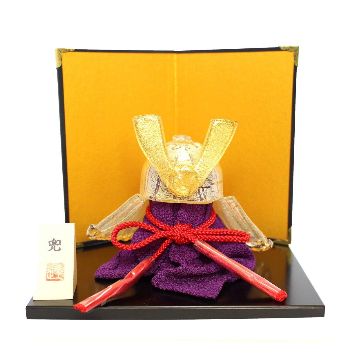 ガラスの兜 金兜(金銀) glass calico グラスキャリコ ハンドメイド ガラスアート 5月 端午の節句 五月人形 兜飾り オブジェ 室内 インテリア お祝い ギフト B06Y44CBQQ