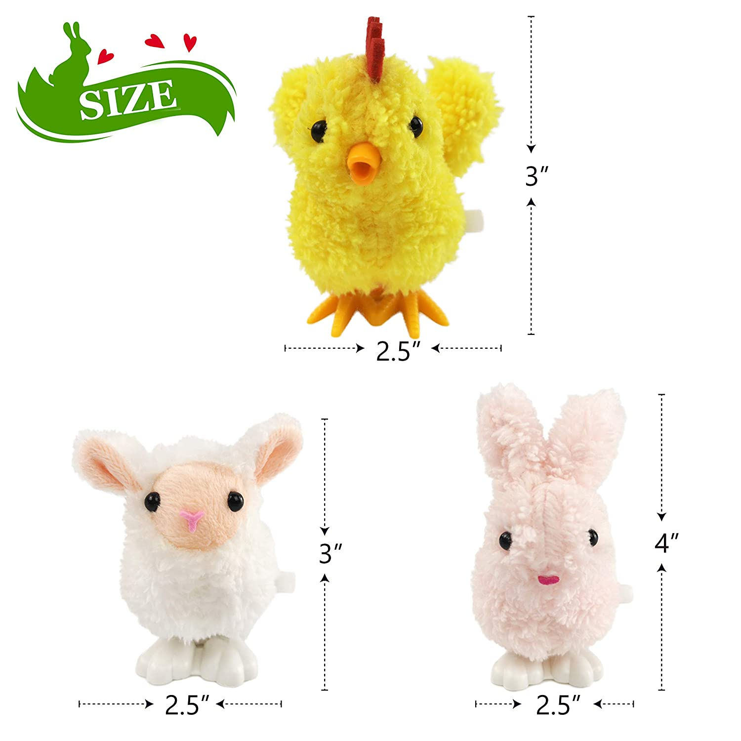 3/'/' Bstaofy 6pcs Wind up Animal Easter Toy Kit Hop Chick Bunny Jumping Plush Assorted Fuzzy Flipping Bounce Kids Stuffed Gift Set Egg Hunt Clockwork Prop Dancing Sheep Party Favor