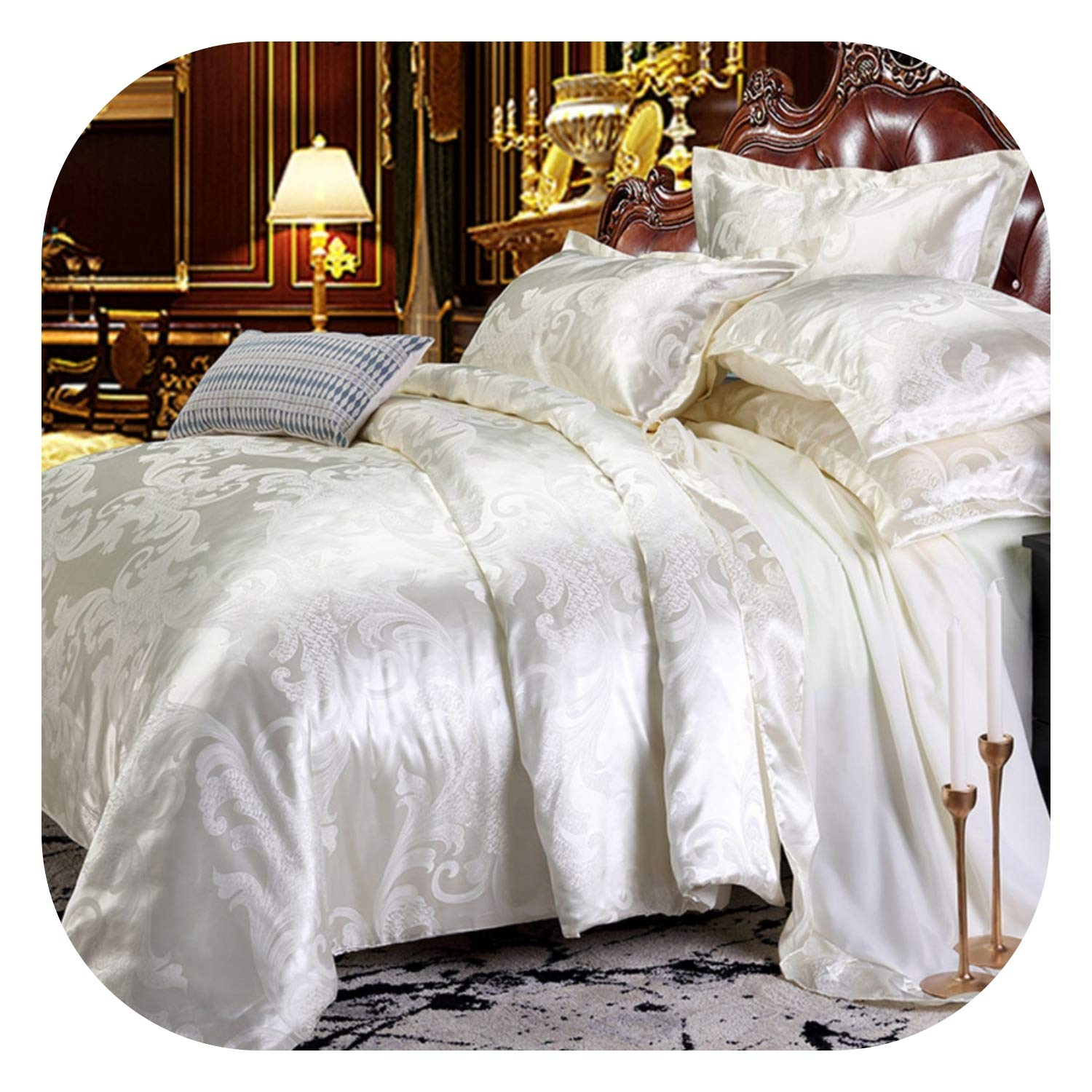 2019 NEW Jacquard Bedlinen Queen King Size Duvet cover Set Imitation Silk Cotton Bedding Sets Luxury Gold Colour2//3//4pcs,AJF05,AU Queen4pcs