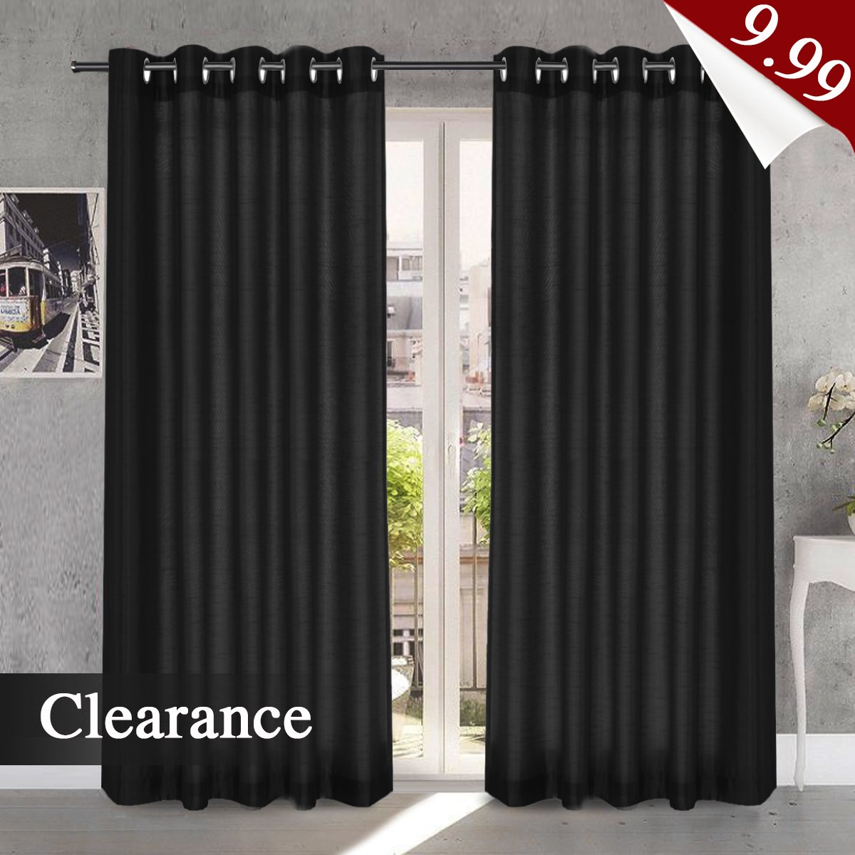 H.Versailtex Faux Silk Eyelet Curtains Black Bedroom Dupioni Light Reducing Window Curtain Panels Living Room Drapes Privacy Window Treatments, 46'' Width x 54'' Drop, 2 Panels