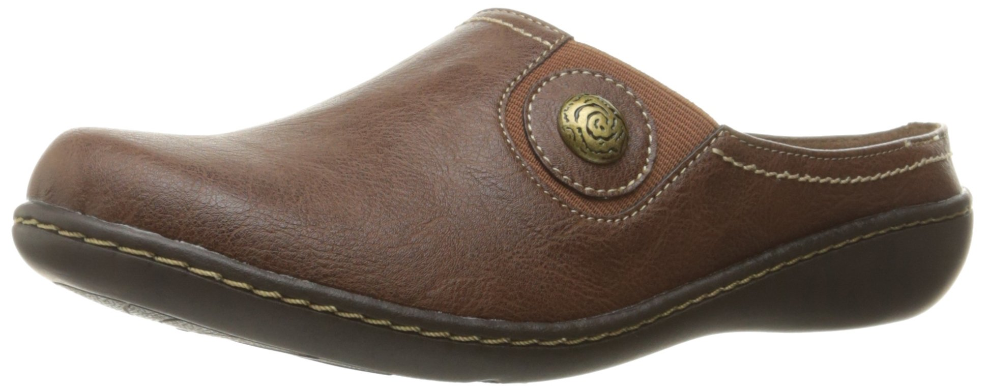 Soft Style by Hush Puppies Women's Jamila Mule, Mid Brown Leather, 8.5 W US