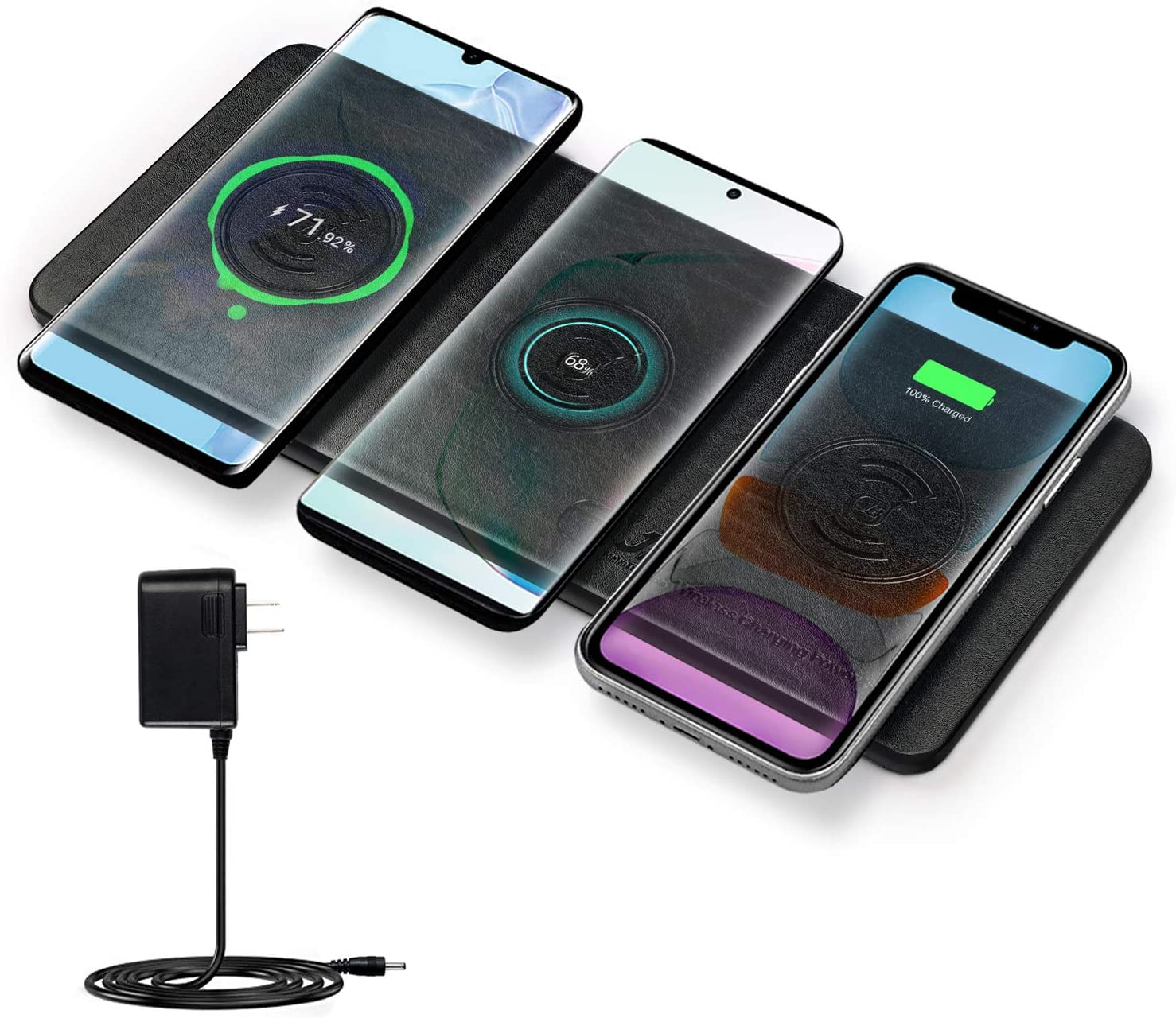 Qi Triple Wireless Charger Station,JE 3 Devices Multi Wireless Charger Pad,Desktop Charging Station for iPhone XS MAXXRXSX88 Plus,Samsung Galaxy