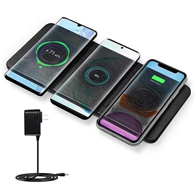 Cargador Inalámbrico Rápido, JE 30W Qi Fast Wireless Charger para iPhone 11/11 Pro/11 Pro Max/XS MAX/XR/XS/X/8Plus/8, Airpods, Samsung Galaxy Serie, ...