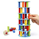 Coogam Wooden Tower Stacking Game, Fine Motor Skill Building Blocks with Dice Toppling Leaning Tower Toy Montessori…