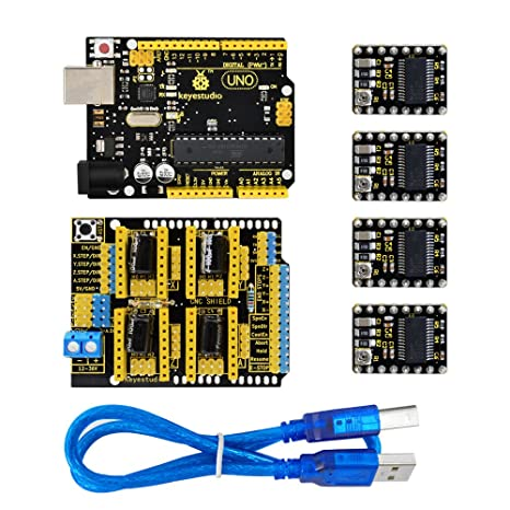 KEYESTUDIO CNC DIY Kit-GRBL CNC Shield V3+4pcs DRV8825 Stepper Motor  Driver+USB Cable+Uno R3 Controller for Arduino