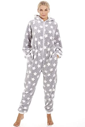 b03ff96ce28 Camille Womens Ladies Soft Fleece White Star Print Light Grey Onesie   Amazon.co.uk  Clothing