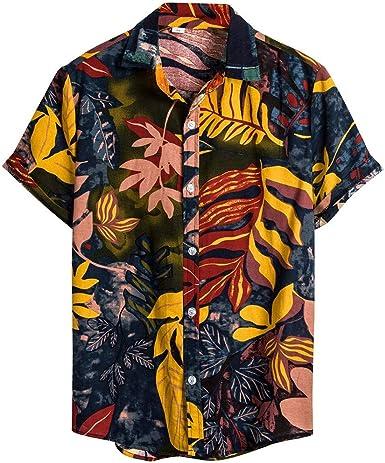 Camisas Hombre Verano Algodón y Lino Manga Corta Hawaii Vacaciones ...