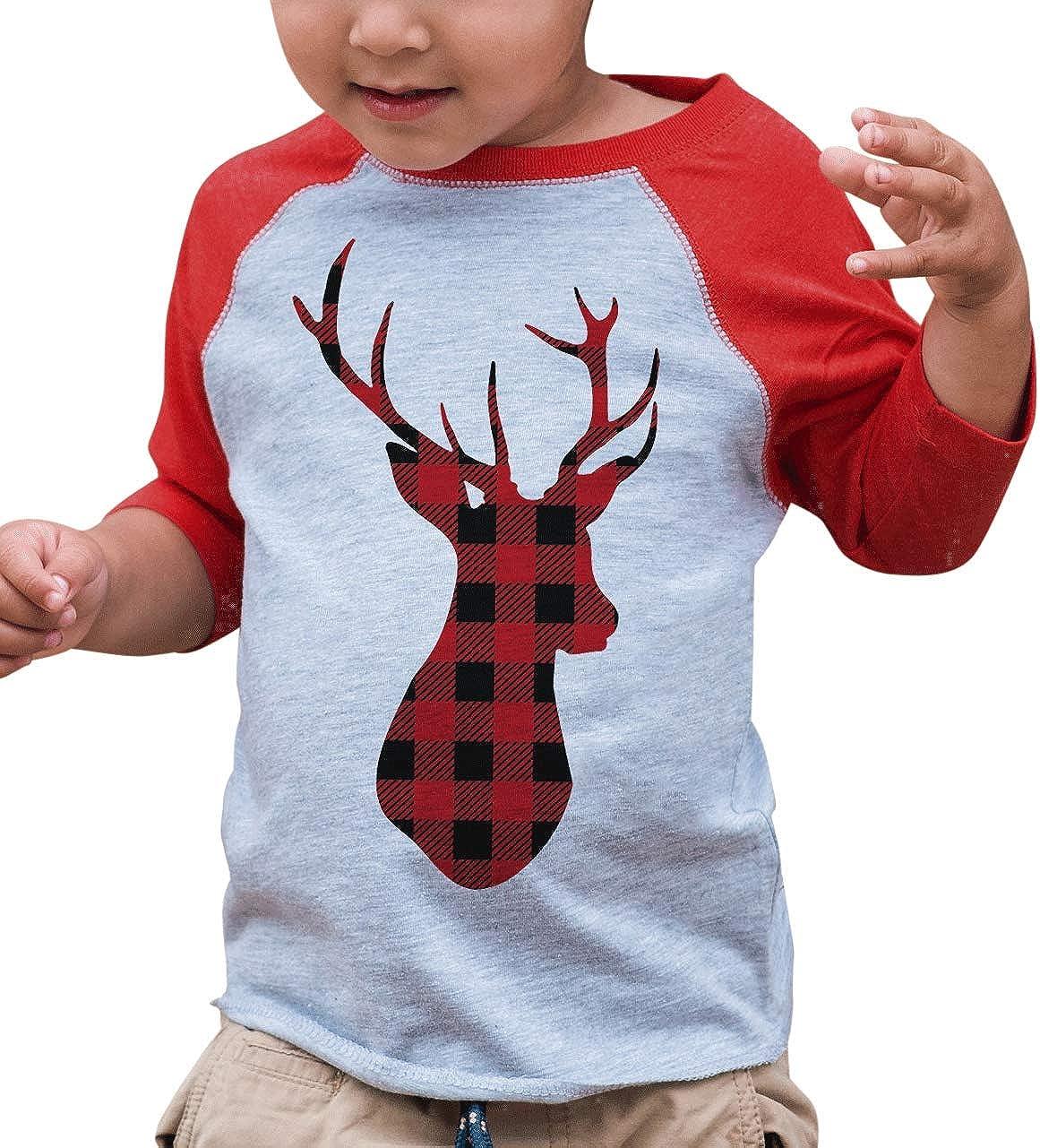 B01M24QTRV 7 ate 9 Apparel Kids Plaid Deer Christmas Raglan Shirt Red 71jMuP2RssL