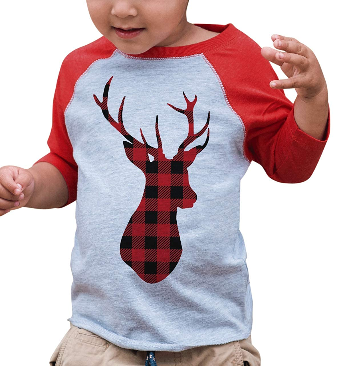 7 ate 9 Apparel Kids Plaid Deer Christmas Raglan Shirt Red