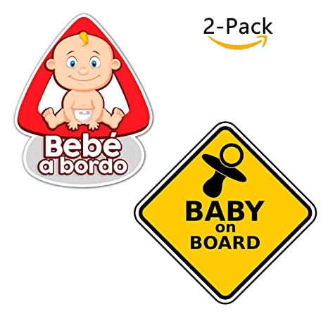 Paquete de 2 Pegatinas Bebe para el Coche - Bebe a bordo ...