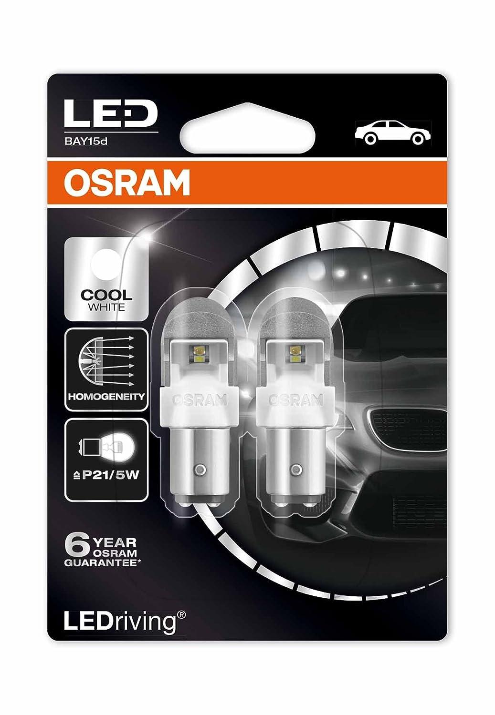 Osram 1557CW-02B Lampadina P21//5W 6000K Bay15D Cool White 2W//0.4W 12V LEDriving m Bianco