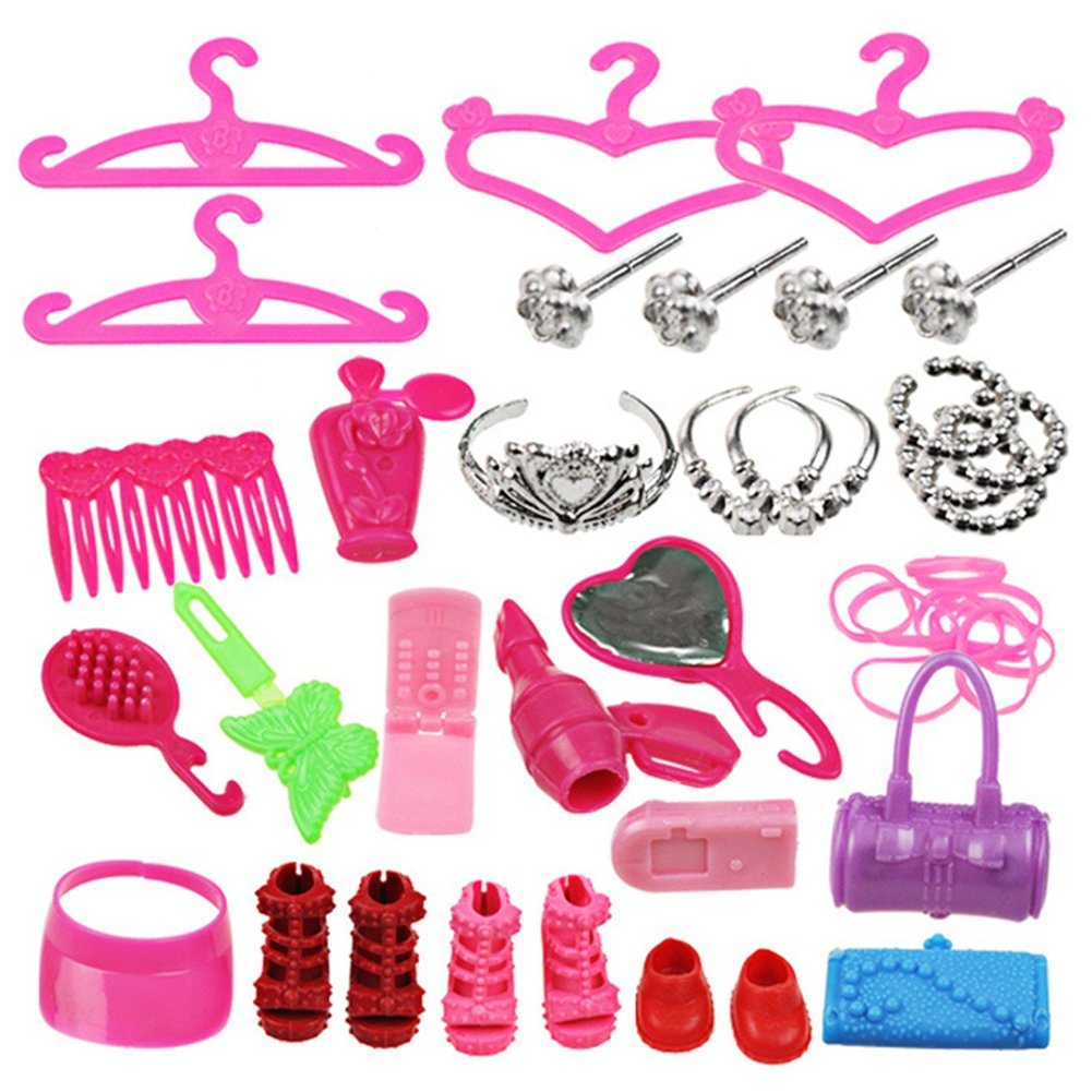 Barbie Doll Clothes Dress Costumes And Accessories for Dresses Shoes And Kitchen Accessories Group Slice 42pcs Birthday Gift for Christmas. Wudi
