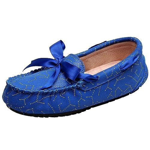 rismart Mujer Plano Vestido Formal Ponerse Bowknot Cuero Mocasines Zapatos SN02737(Azul Real,EU37
