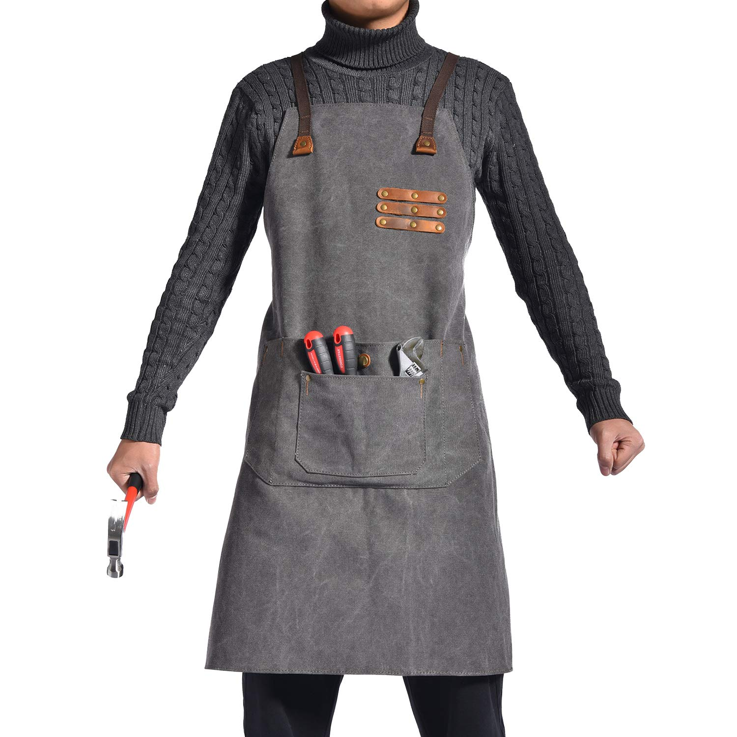 Canvas Shop Apron for Men & Women| Heavy Duty Work Apron with Pocket & Cross-Back Straps | Adjustable Tool Apron M to XXL(Grey)