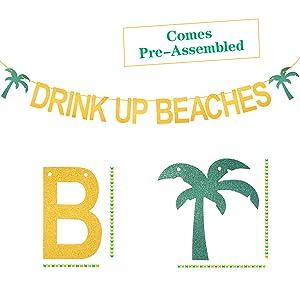 Drink Up Beaches Banner, Hawaiian Luau Party Decorations, Gold Glittery Drink Up Beaches Banner Sign, Tropical Summer Beach Party Supplies, Hawaii Theme Party Decor